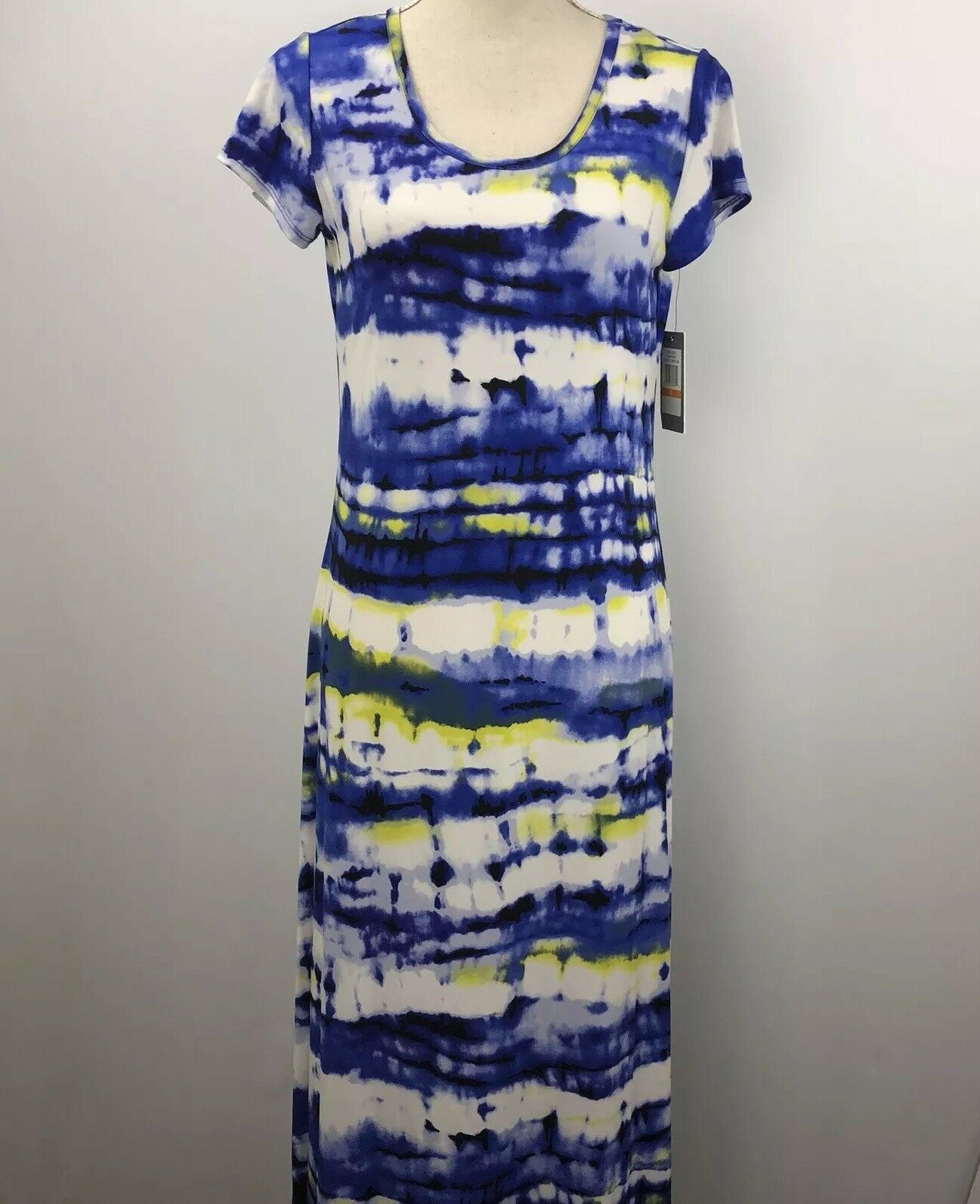 CHAUS Aquatic Reef Polyester Spandex Size Small Dress Tropical Lime Hi Lo S S