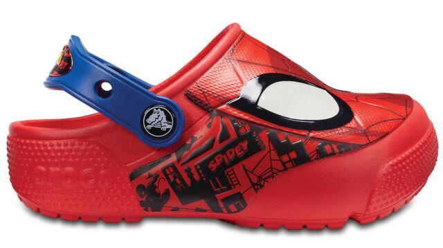 3927ccaa1d9e10 Crocs Children Sport Casual Clogs Kids  Fun Lab Spider-Man™ Lights Clogs Red