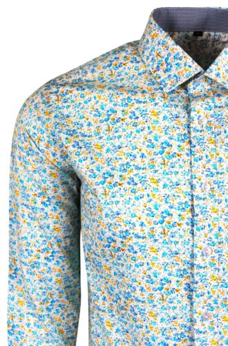 Mens Floral Smart Luxury Casual Shirt Flower Style Dominic Stefano 405