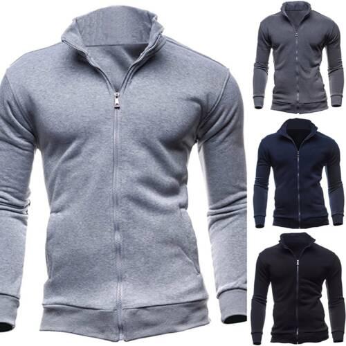 Mens Casual Slim Jacket Coat Long Sleeve Sweatshirt Zip Up Winter Sports Tops