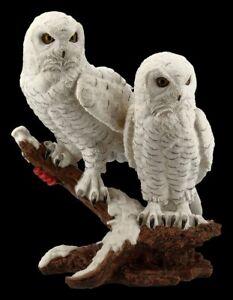 Owls-Figurine-Snowy-Owls-Pair-on-Branch-Owl-Kauz-Bird-Deco-Statue