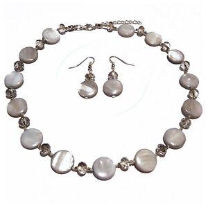Parure-Collier-Ras-De-Cou-Boucles-d-039-oreilles-Nacre-perles-facettes-grise-argente