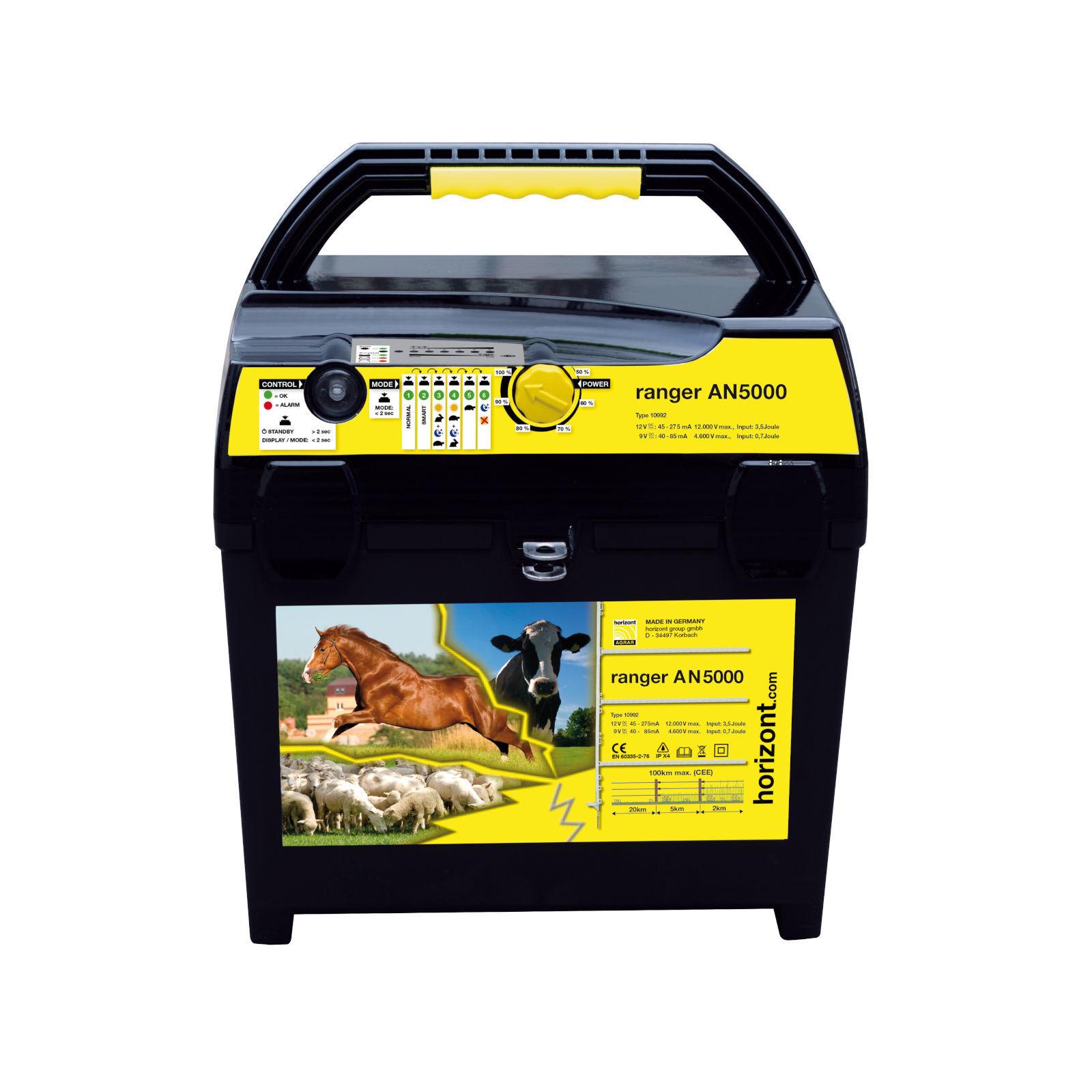 Horizont Weidezaungerät ranger AN5000 Elektrozaun Pferdekoppel Batteriegerät