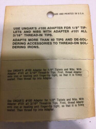 """2 New UNGER SOLDER TIP ADAPTOR    MODEL #100    1//8/"""""""