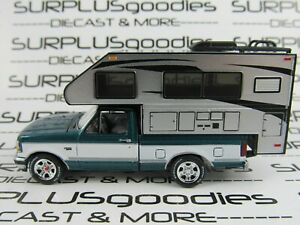 Johnny-Lightning-1-64-LOOSE-Blue-Green-1993-FORD-F-150-F150-Pickup-w-Camper