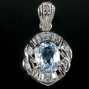 _LDN_Sublime Pendentif Topaze bleu + Chaine en Argent 925