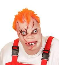 KILLER doll SERIAL KILLER Mezza Faccia Spaventosa Halloween ridacchia Maschera Con Capelli