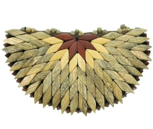 "9"" Wooden Patchwork Clutch Bag Beaded Pieced Wood"