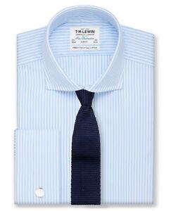 T-M-Lewin-Calce-Ajustado-Camisa-de-Cuello-de-Corte-Luz-Azul-A-Rayas