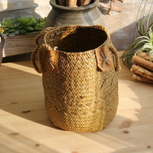 Natural Straw Woven Flower Pot with Handle Vase Basket Home Garden Decorative