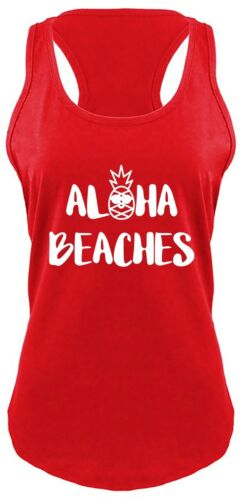 Ladies Aloha Beaches Racerback Vacation Pineapple Shirt