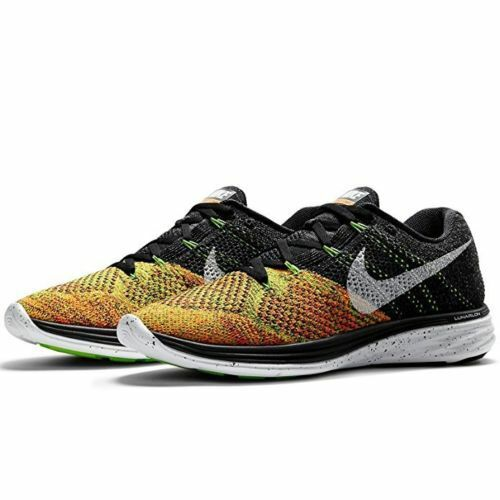 SZ 8 MEN'S NIKE FLYKNIT LUNAR 3 RUNNING TRAINING SHOES ORANGE BLACK 698181-003