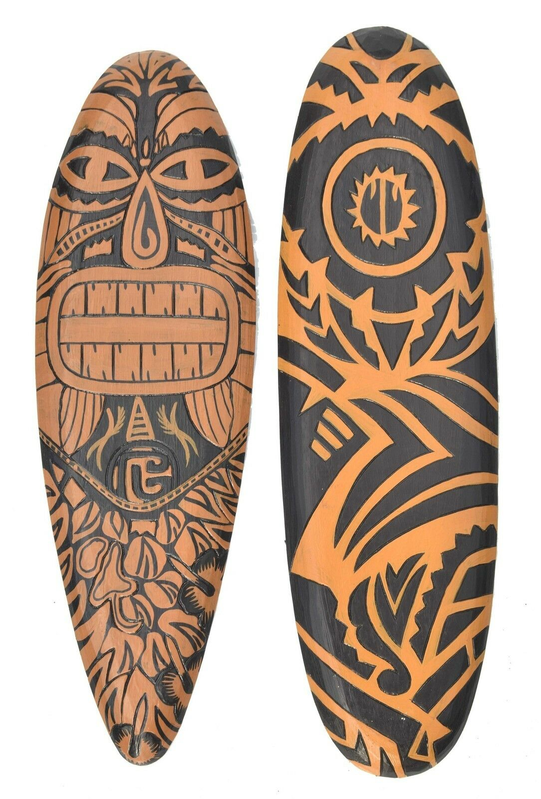 2 Deko Surfboards 60cm im Maori Tribal Stil Surfbrett im 2er Set Deko Hangboards