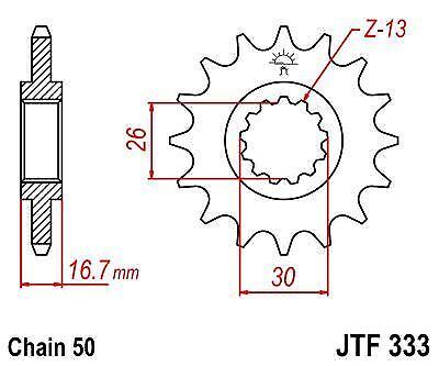 Heavy Duty Sprocket JTF333 16t fits Honda CBR900 RR Fire Blade 92-95 JT