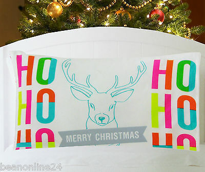 Christmas Pillow Case Fabric Cloth Printed 74 x 48cm- Santa, Reindeer & Elf