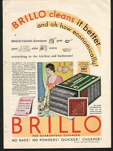 Brillo Scouring Pad 1930 Pots Pans Kitchen Woman Cleaning Vintage Print Ad