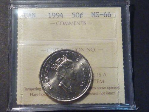 GEM BUSINESS STRIKE ICCS MS-66 Canada 1994 50-cent