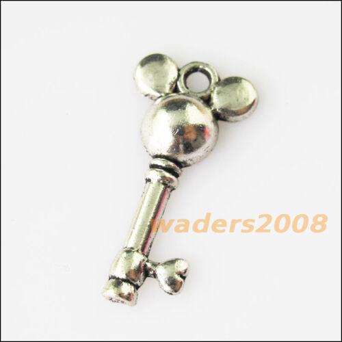 10 nouveau chef Heart Key Tibetan Silver Tone Charms Pendentifs 13.5x27mm