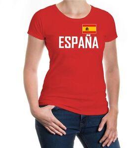 Damen-Kurzarm-Girlie-T-Shirt-Spanien-spain-Trikot-Fanshirt-Fussball-Flagge-flag