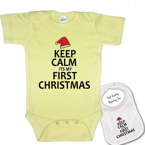 "/"" Keep Calm its my first Christmas /""Cute Baby bodysuit romper /& Matching Bib set"