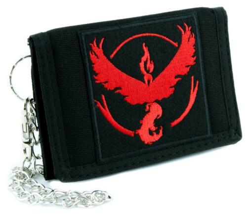 Team Valor Red Pokemon Go Tri-fold Wallet with Chain Alternative Clothing Anime