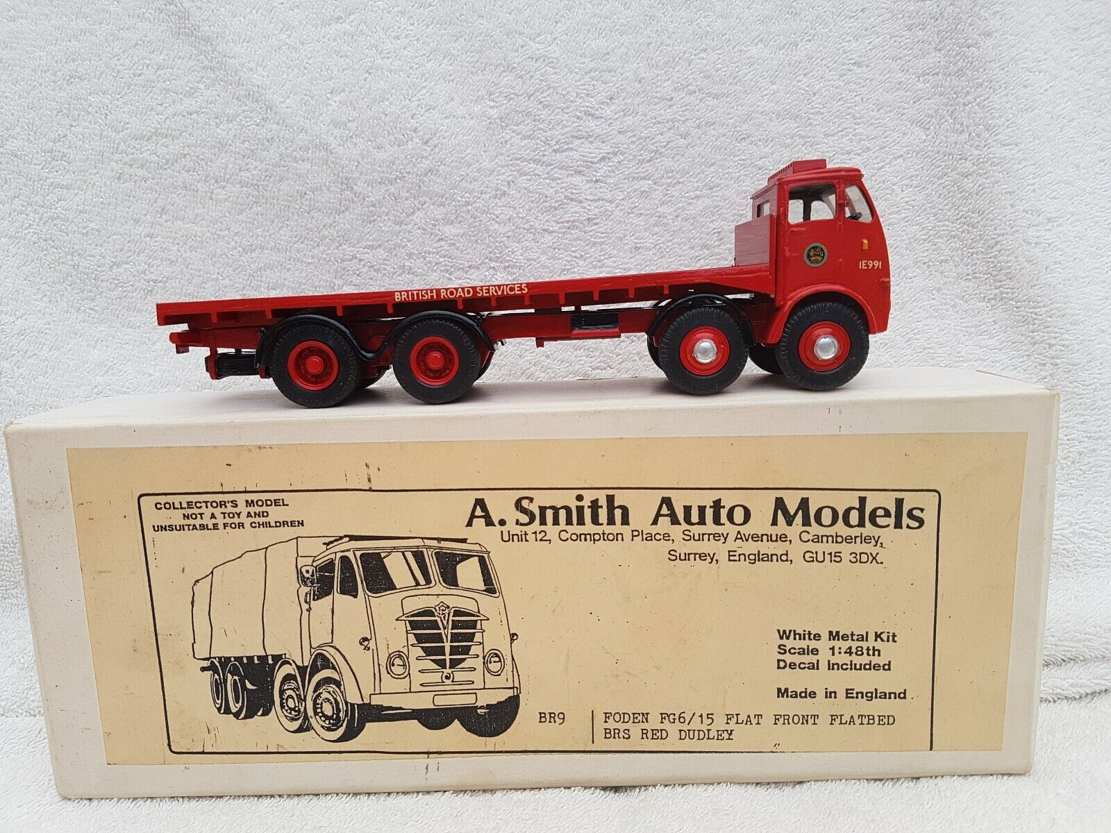 A. Smith Auto Models Foden FG6 15 Flat Front Flatbed BRS Red Dudley
