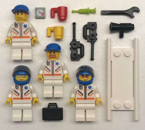 figures city town doctor hospital EMT Crew nurse 4 Lego Paramedics Minifigs Lot