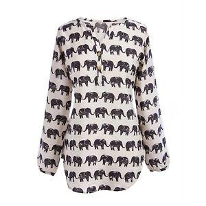 Evergreen-Women-039-s-Elephant-Tunic-Top-Long-Sleeve-Animal-Print-Blouse-Medium