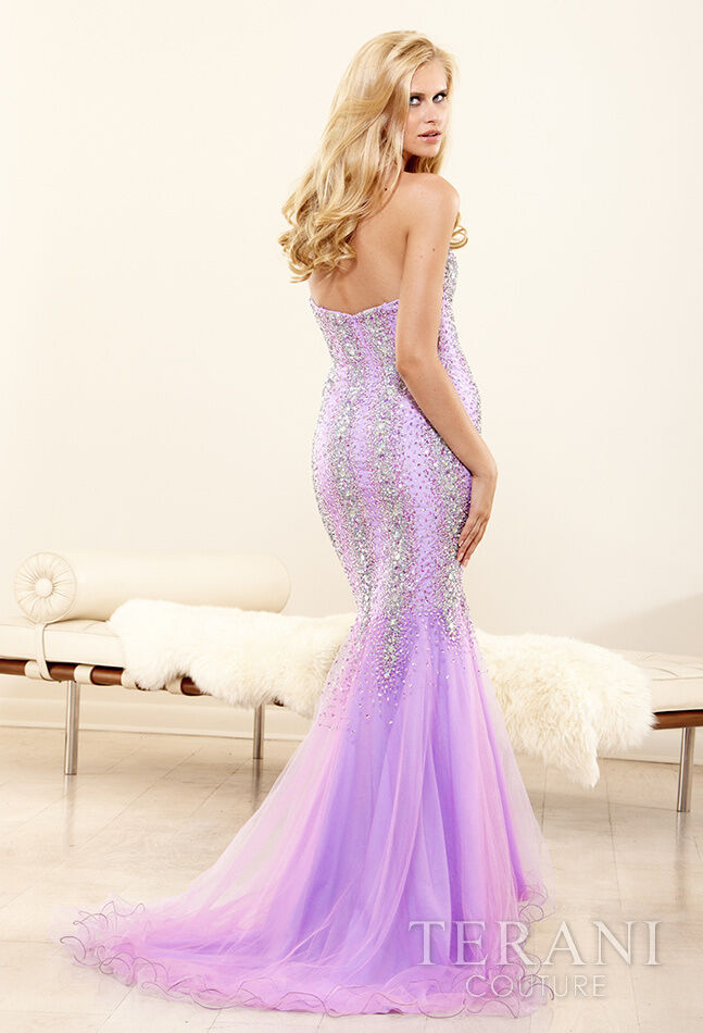 394 NWT purpleC TERANI COUTURE PROM PAGEANT FORMAL DRESS GOWN  P3103 SIZE 4