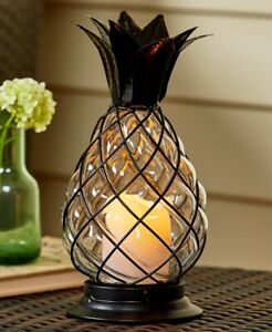 Tropical-Caged-Glass-Pineapple-Hurricane-Lantern-amp-LED-Candle-with-Timer-Set