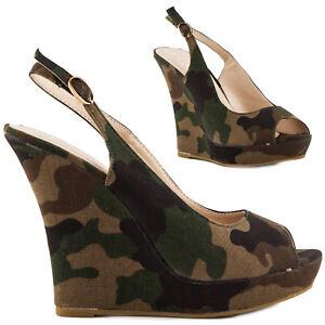 Cuña Sandalias De Mimético Zapatos Mujer Militares Zuecos 35qraj4l rCWxedBo