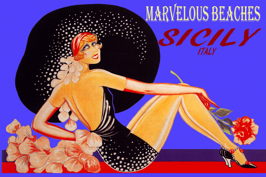 SICILY ITALY MARVELOUS BEACHES FASHION Mädchen BIG HAT TRAVEL VINTAGE POSTER REPRO