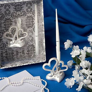 Wedding-Reception-Guest-Book-Signing-Pen-Silver-Pen-Holder-Stand-wedding-Decor