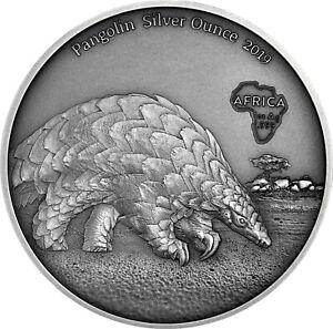 Ghana-5-Cedis-2019-Pangolin-Silver-Ounce-Antique-Finish-Muenze-Schuppentier