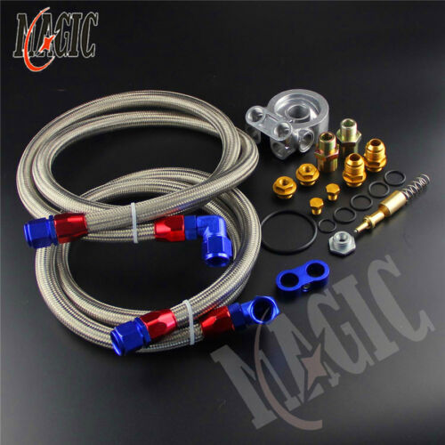 7 Row Thermostat Adaptor Engine Racing Oil Cooler Kit For Car//Truck Silver