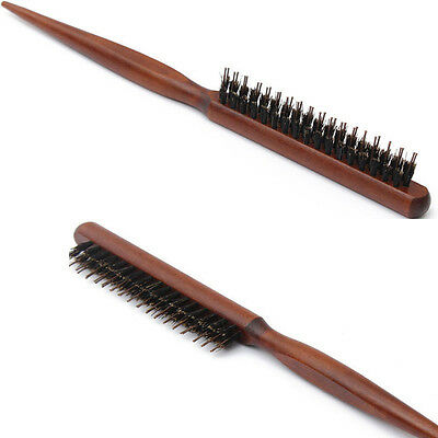 Wood Handle Natural Boar Bristle Hair Brush Fluffy Comb Barber Tool  Hot Sell