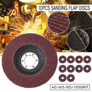 10X-FLAP-GRINDING-SANDING-DISCS-115MM-4-5-039-039-40-60-80-120-Angle-Grinder-Wheels