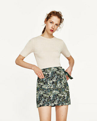 So Cute Zara Jacquard Skirt-ref 2889/745-mini Skirt With Bow-sea Green-size S Delicacies Loved By All Clothing, Shoes & Accessories