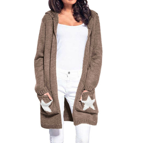 Women/'s Long Sleeve Hooded Cardigan Star Patchwork Open Front Cardigan Sweater
