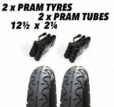 2x Pram Tyres & 2x Tubes 12 1/2 X 2 1/4 Slick BabyJane Powertwin Slalom Maclaren