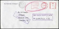 LIVERPOOL 1978 UNDELIVERED NO SUCH PLACE BOXED METER UNIVERSITY PRINTED ENVELOPE