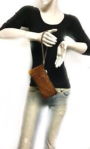 Raviani-Wristlet-Bag-in-Brown-Tooled-Leather-Made-In-USA
