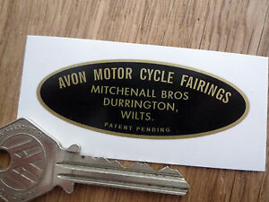 AVON-MOTORCYCLE-FAIRINGS-Mitchenall-Bros-Ltd-OVAL-STYLE-STICKER-Scooter-Brothers