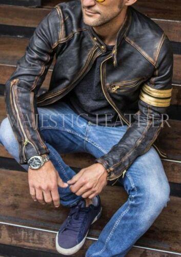 Men/'s Biker Vintage Motorcycle Goldy Black Luxury Lamb Leather Jacket Handmade