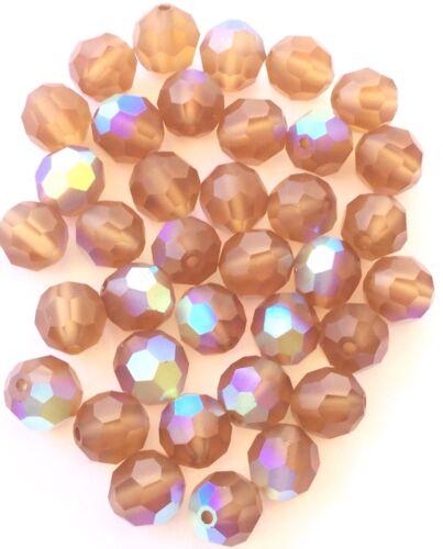 8mm Authentic Genuine Czech Preciosa Crystal Matte Colorado Topaz AB Beads-36Pcs