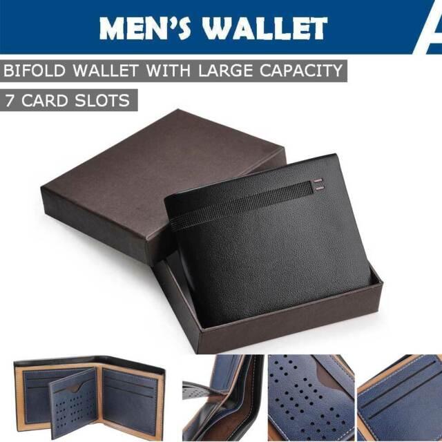Business Mens Leather Wallet Card Holder Bifold Short Purse Card ID Holder Black