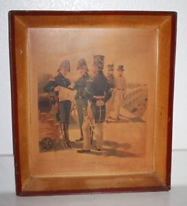 Antique-Tin-Tray-H-A-Ogden-American-Military-Litho-Wall-Picture-Officer-1816-21