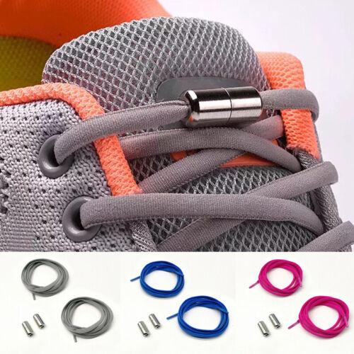 1Pair Shoestrings No Tie Shoe Laces Metal Capsule Button Elastic Shoelaces