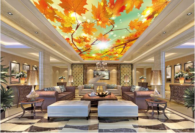 3D Maple Leaf Sky 838 Wall Paper Wall Print Decal Wall Deco AJ WALLPAPER Summer