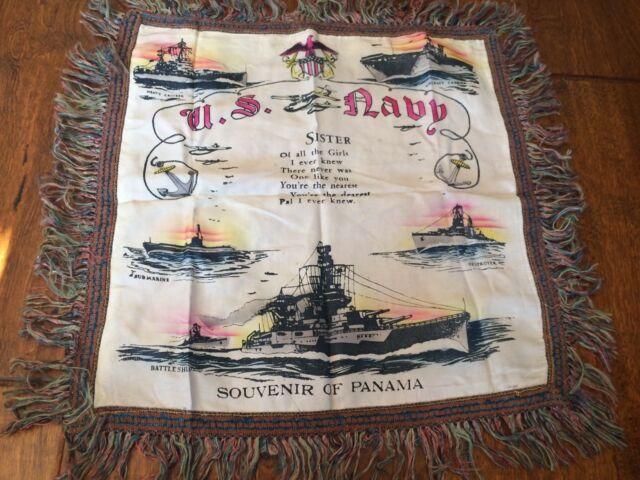 Vintage Souvenir of Panama THE KISS OF THE OCEAN Silk Pillow Cover Case